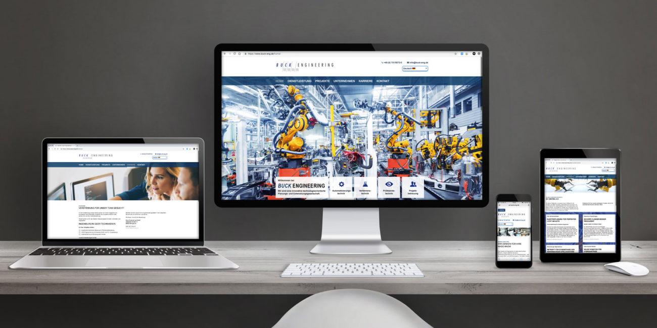 Internetpräsenz der Firma BUCK ENGINEERING aus Weingarten. Basiert auf TYPO3 CM-System mit Responsive Webdesign