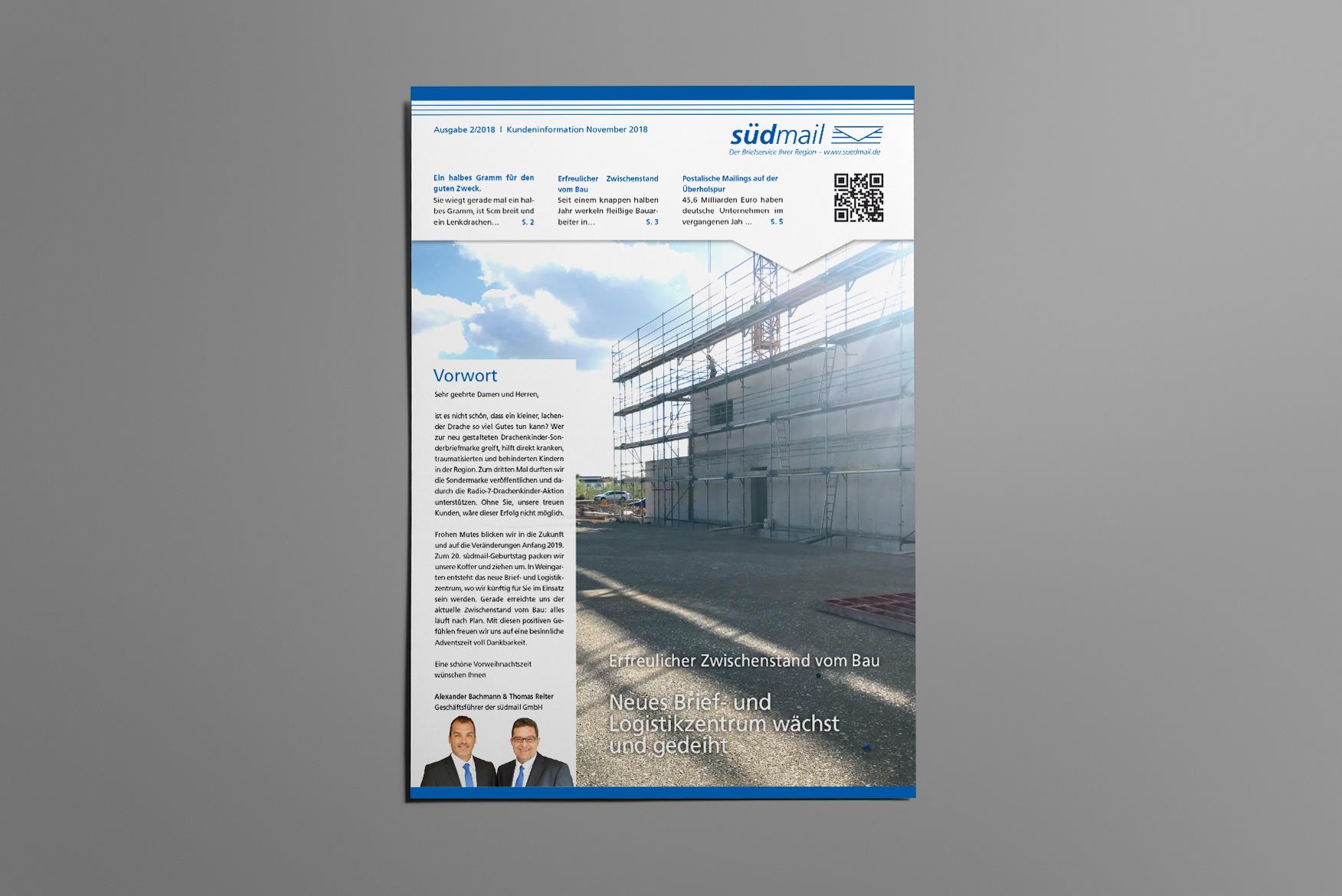 Print-Newsletter von südmail Briefzustellung aus Weingarten und Ravensburg. Mailingaktion alle 3 Monate.