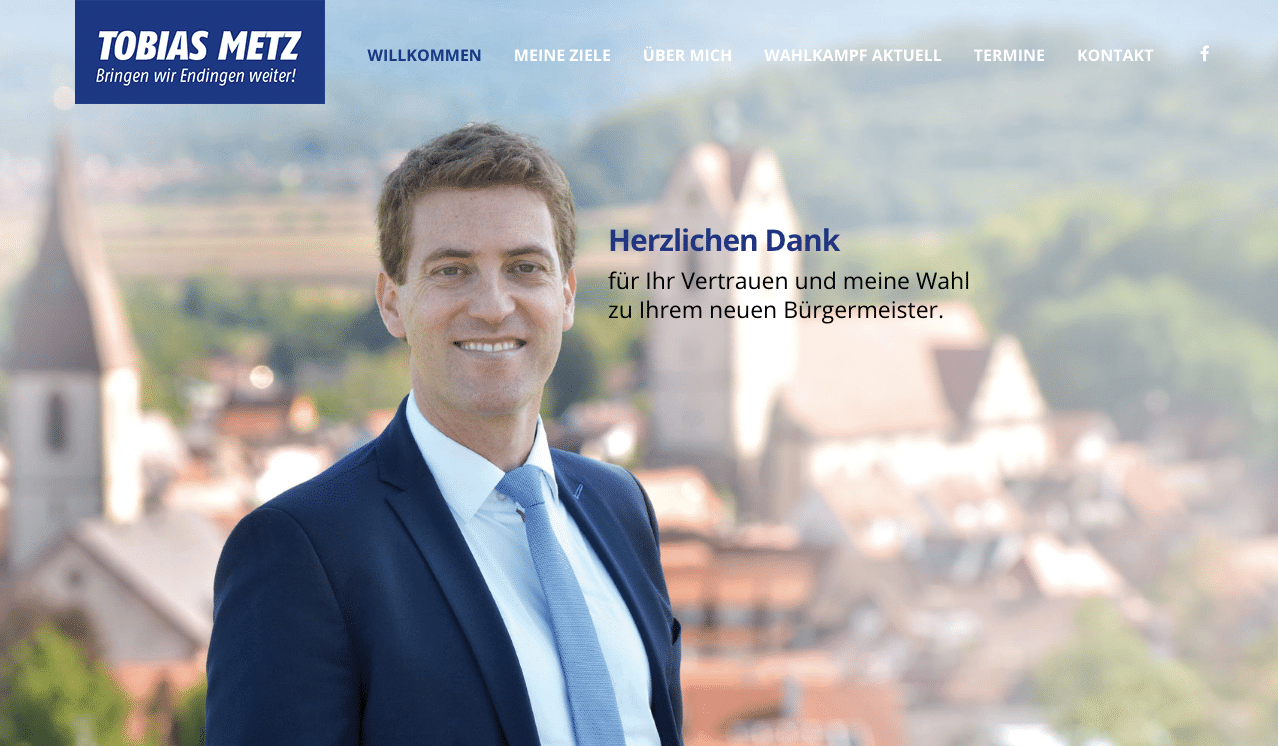 Tobias Metz ist nach fairem Wahlkampf neuer Bürgermeister von Endingen
