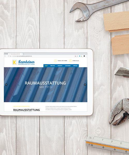 Webseite für Raumaustattung Kesenheimer aus Weingarten