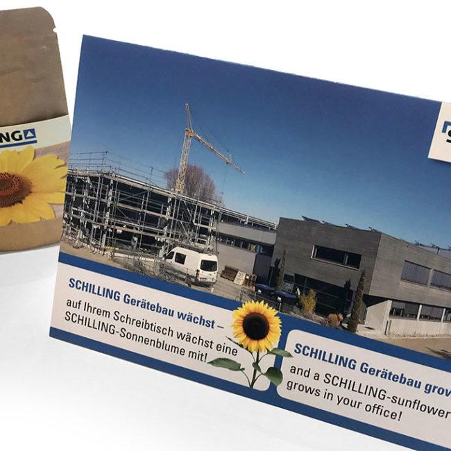 Kundenmailing mit DIN A5 Klappkarte und Sonnenblumen für Schilling Gerätebau aus Friedrichshafen