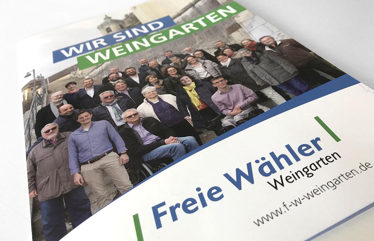 Wahlkampagne der Freien Wähler Weingarten mit Wahlprospekt, Plakaten, Flyern, Giveaways bis hin zum beklebten VW Käfer