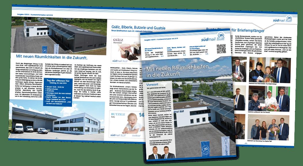 Kundenmagazin zum Jubiläum der südmail GmbH aus Weingarten, Newsletter Print mit 6 Inhaltsseiten