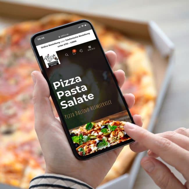 Pizza-Heimservice Dalfino aus Weingarten bei Ravensburg erhält neue Website.