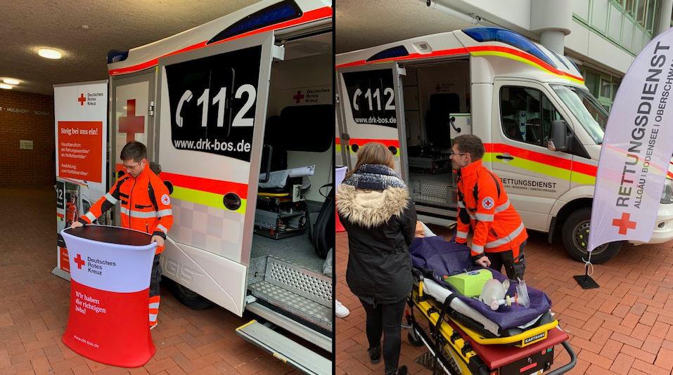 Messe-Auftritt des DRK Rettungsdienstes bei. Beachflag und Rollupsystem