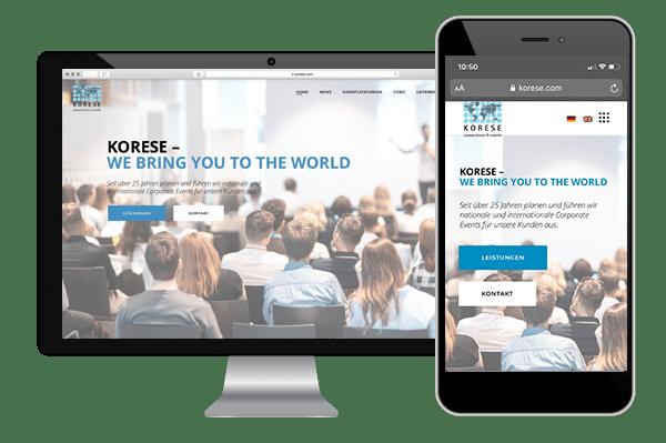 Website-Relaunch, Responsive Webdesign, mobile Geräte optimiert, Korese, Event, Kongress, Ravensburg