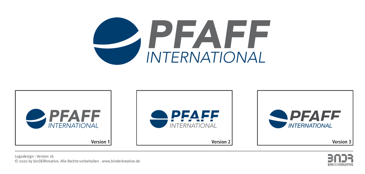 Logodesign, Marken Relaunch, Logovorschläge, PFAFF International